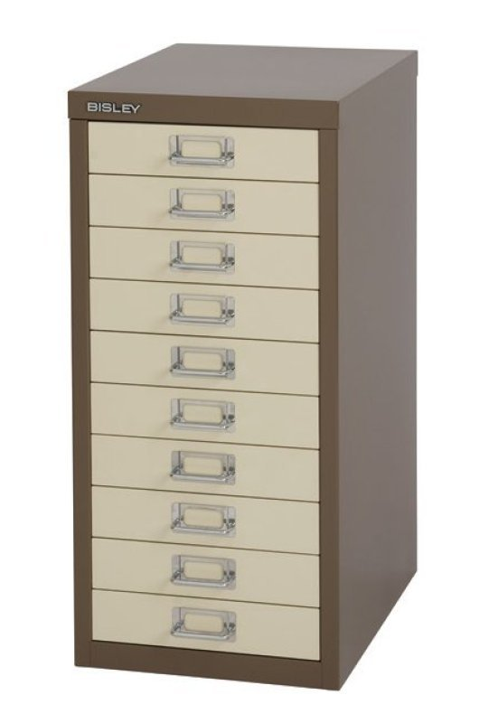 Bisley Multidrawer Non Locking 10 Drawer Cabinet - Coffee/ Cream
