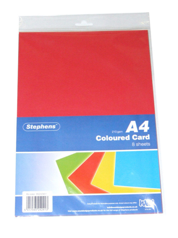 Westdesign Stephens A4 Card 8 Assorted Sheets - 10 Pack