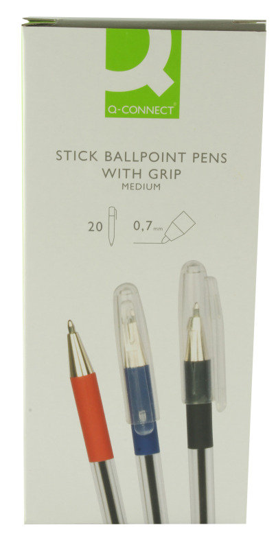 Q Connect Stick Ball Point Med Nib Black - 20 Pack