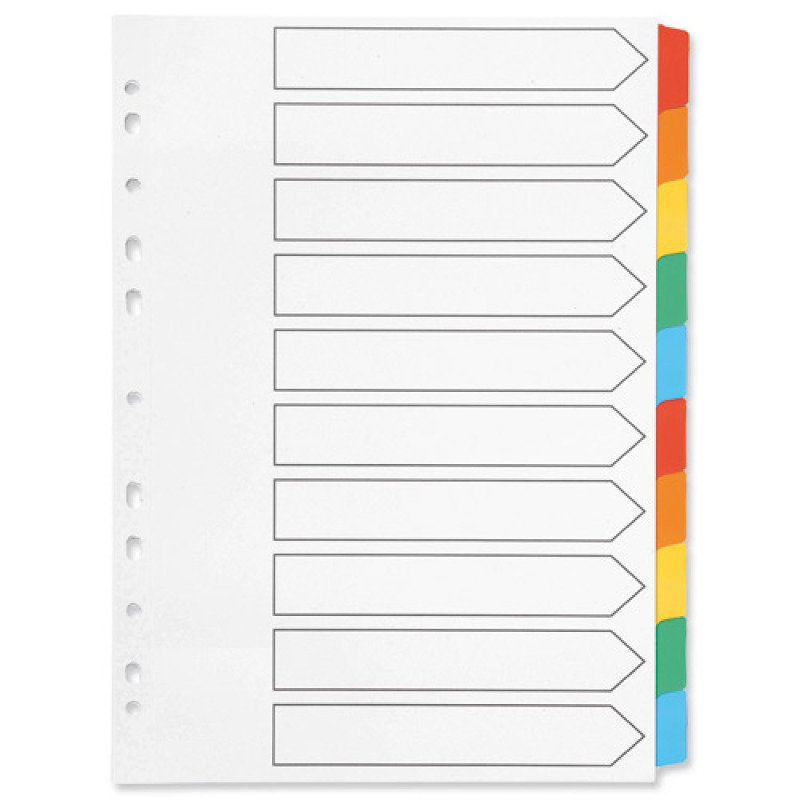 Q-Connect Index A4 Multi-Punched 10-Part Reinforced Multi-Colour Blank Tabs