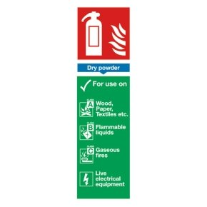 Extra Value 280x90mm Self Adhesive Safety Sign - Fire Extinguisher Dry Powder