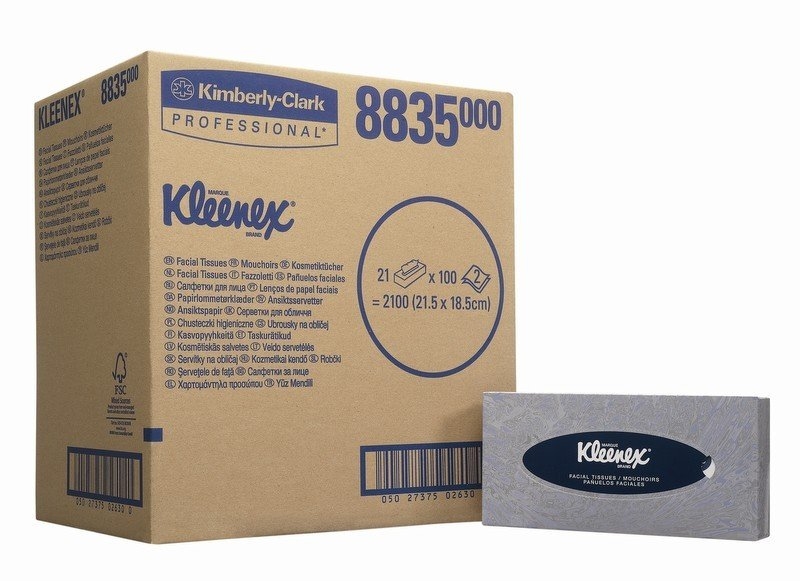 KLEENEX FACIAL TISSUE BOX WHT 8835 PK21