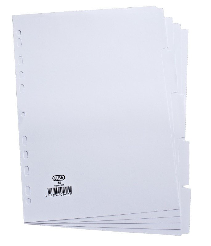 Elba Card Divider A4 5-Part 160gsm White