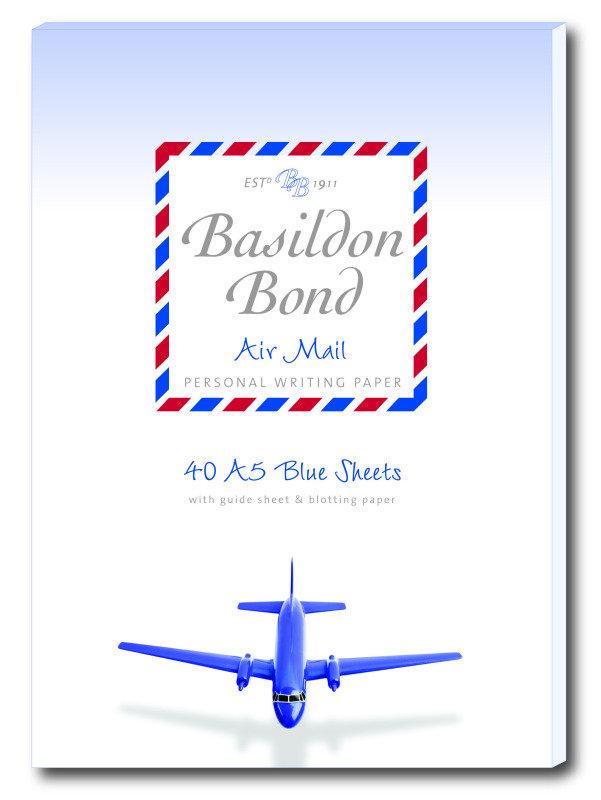 Image of Basildon Bond Airmail Writ Pad 40sht Blu - 10 Pack