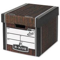 Fellowes R-Kive Premium Presto Tall Storage Box Woodgrain - 10 Pack