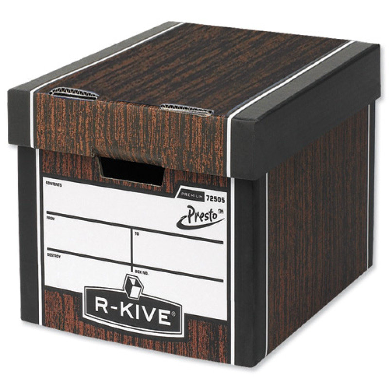 Fellowes R-Kive Premium Presto Tall Storage Box Woodgrain - 10 Pack