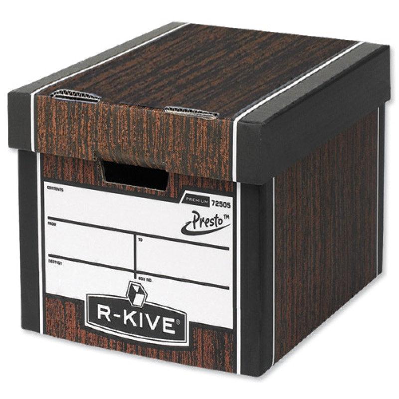 Fellowes RKive Premium Presto Tall Storage Box Woodgrain  10 Pack