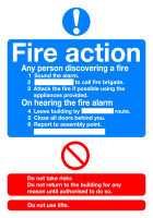 SignsLab A5 Self Adhesive Sign - FIRE ACTION
