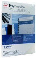 GBC A4 Polypropylene Clearview Binding Covers Frosted Clear Pack of 50