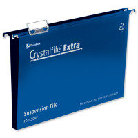 Rexel Crystalfile Extra 30mm Suspension File Blue Foolscap (Pack of 25)