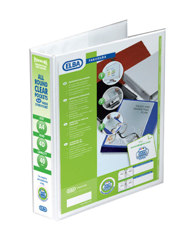 Image of Elba A4 40mm Pres 4d Rbdr Wht 400001300 - 10 Pack