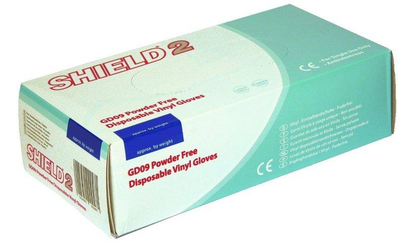 SHIELD P/F VINYL GLOVES M PK100 CLR GD09
