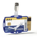 Durable Dual Security Pass Holder With Clip for 2 ID Cards Blue 25 Pack