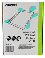 Rexel Copyking Clear Reinforced Pockets A4 100 Pack
