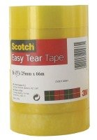 Scotch Easy Tear Clr Tape 25mmx66m - 6 Pack