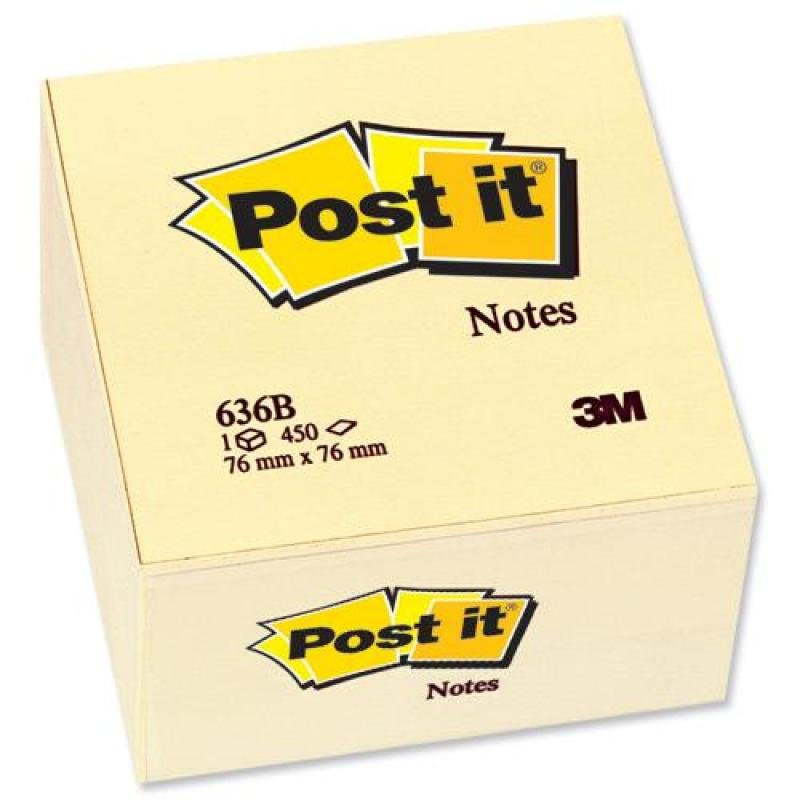 Post-it Notes - Canary Yellow - 1 Cube - 450 Sheets.