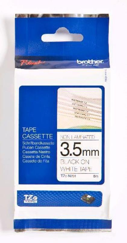 BROTHER 3.5MM BLK ON WHITE TAPE