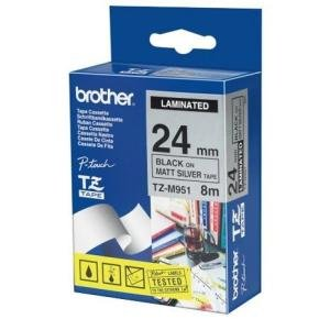 BROTHER MET TAPE 24MM BLK ON MAT SILVER