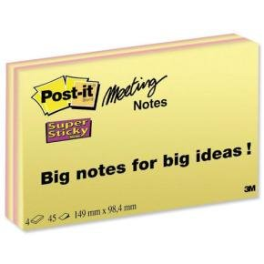 Post-it Super Sticky Notes Meeting Pads 149x98mm Bright Colours (Pack of 4 x 45 Sheets)