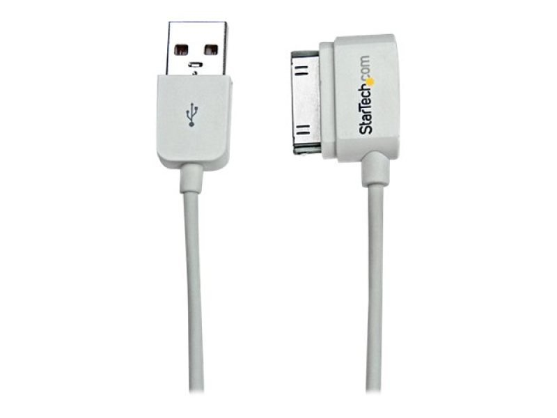 Startech 0.5m Short Usb Left Angle Cable For Iphone Ipod Ipad With Stepped Connector