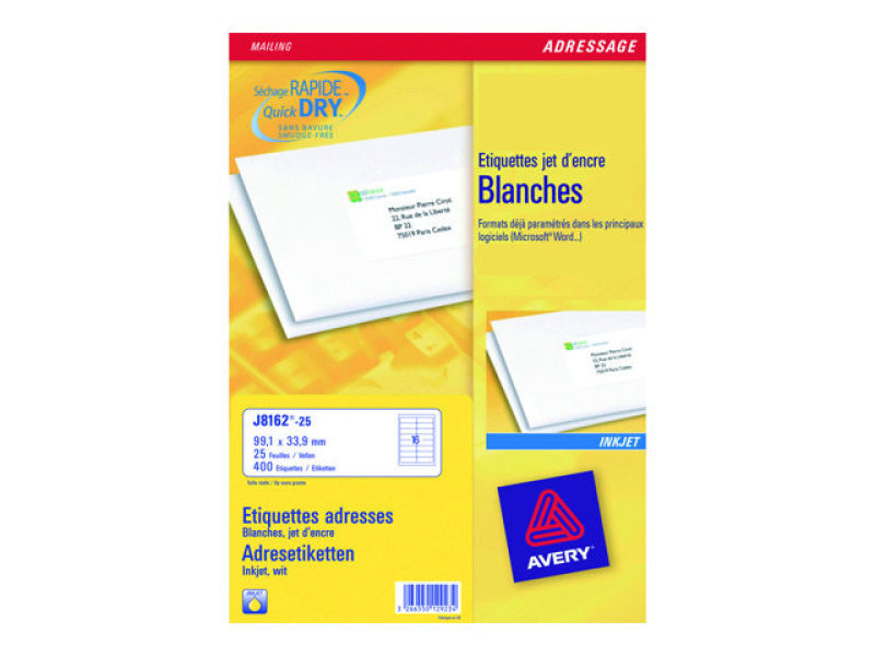 avery inkjet labels 16  sht 99 1x33 9mm