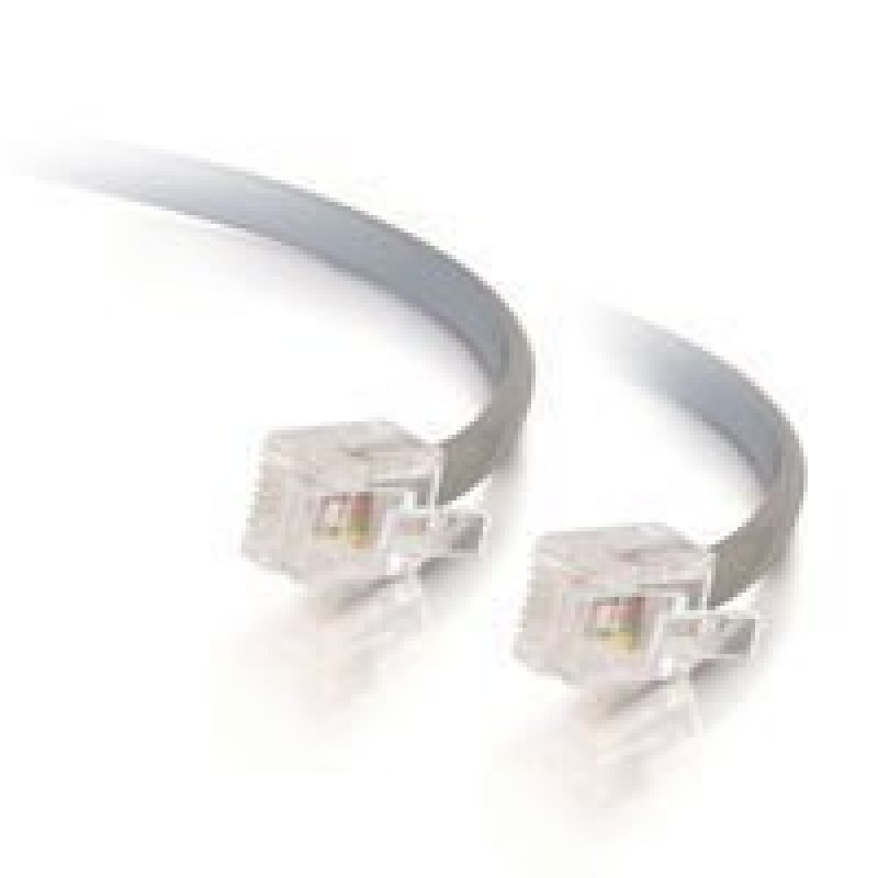 C2G RJ11 6P4C Straight Modular Cable - Phone cable - RJ-11 (M) - RJ-11 (M) - 3 m - grey