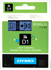 D1 Tape 24mm - Black On Blue In