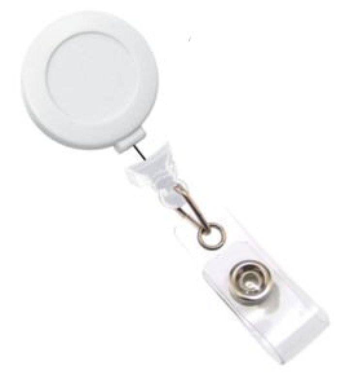 Image of Badge Reel Red Sticker White - Pack X 100