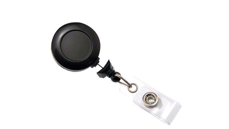 Image of Badge Reel Black Sticker White - Pack X 100