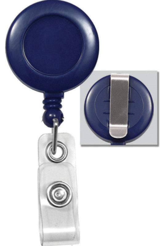 Image of Badge Reel Blue Sticker White - Pack X 100