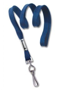 10mm Flat Braided Poly Lanyard - Blue Metal Swivel Hook-pack100