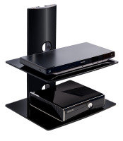 Xenta Black Glass and Alliminium Wall Mountable TV stand
