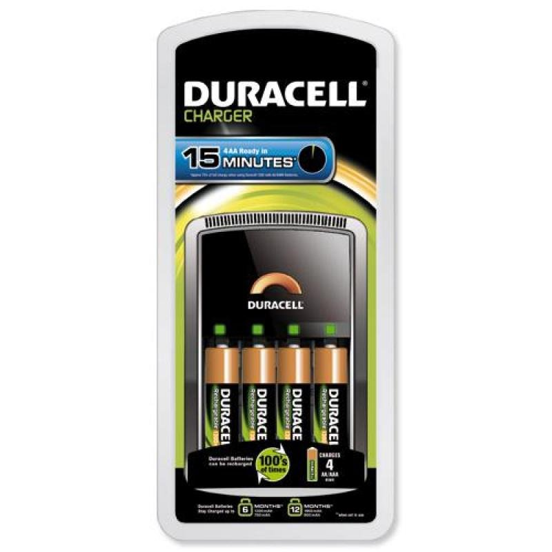 Duracell CEF15 15 Min Battery Charger With 4x AA Batteries