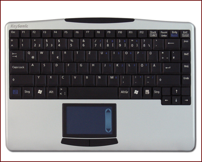 KeySonic 2.4Ghz Wireless Keyboard with Integrated TouchPad - USB