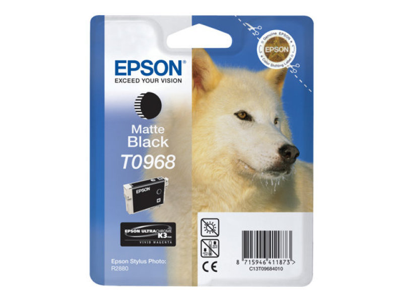 *Epson T0968 11.4ml Matte Black Ink Cartridge 495 Pages