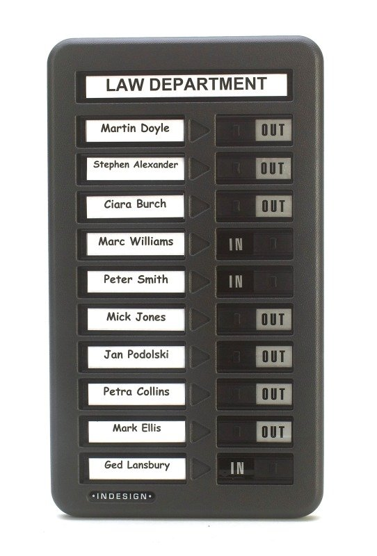 Image of Indesign In/Out Board - 10 Names