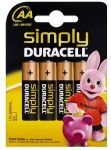 Duracell Simply Std Alklne AA -  4pack
