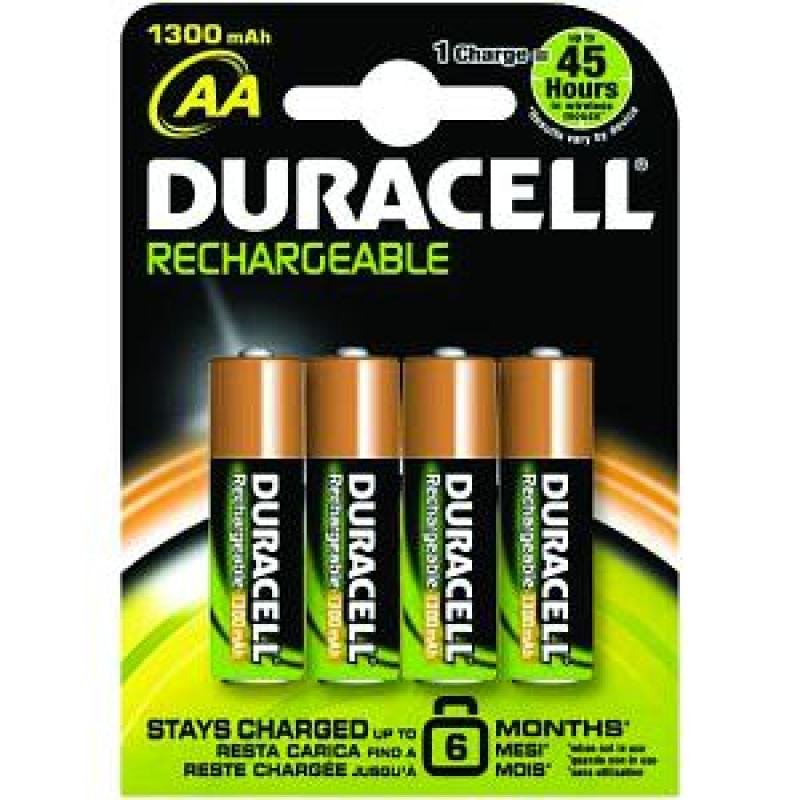 Duracell Standard AA 1300mAh Rechargeable Batteries  4 Pack