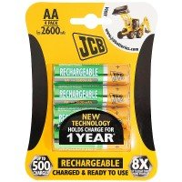 JCB AA 2400mAh Rechargeable Batteries - 4pk