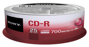 Sony 52x CD-R 700MB 25 Pack Spindle