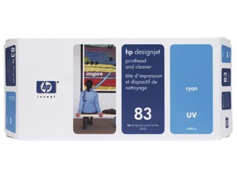 HP 83 Cyan Original UV Printhead & Printhead Cleaner For use with - HP Designjet 5000 & 5500 - C4961A