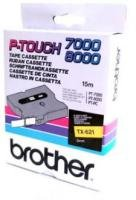 Brother TX621 Laminated Tape - Black On Yellow