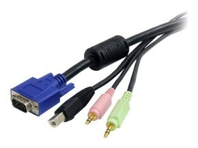Startech 6 Ft 4-in-1 Usb Vga Kvm Switch Cable With Audio And Microphone