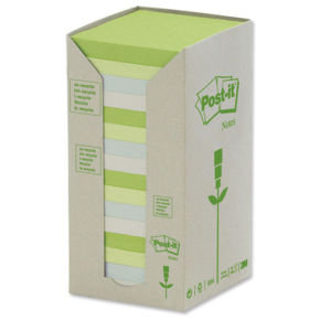 POSTIT RECYCLED 76X76MM PASTEL PADS PK16