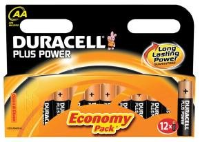 Duracell MN1500B12 Plus Power AA Size Batteries - Packs of 12