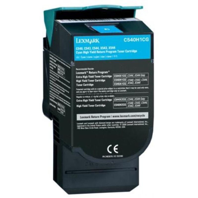 Lexmark 0C540H1CG High Yield Return Program Cyan Toner Cartridge 2000 Pages