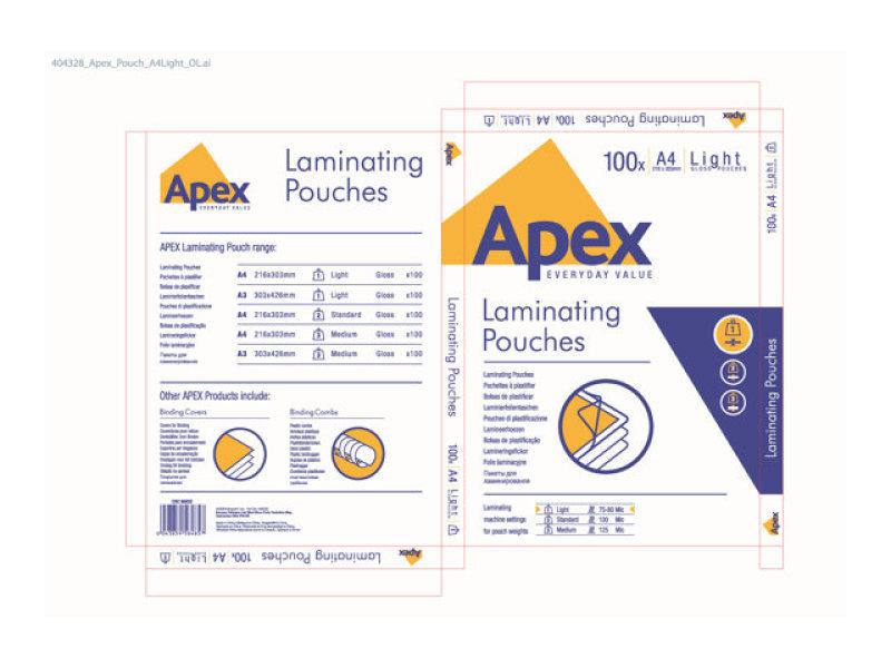FELLOWES APEX LAM POUCH A4 LGHT CLR P100