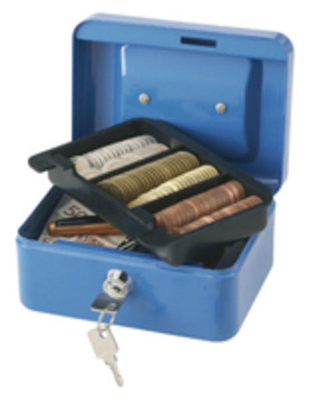 Q Connect 6 Inch Cash Box - Blue