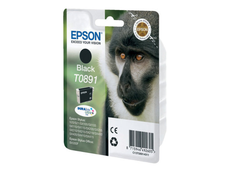 Epson T0891 - Print cartridge - 1 x black - blister with RF/acoustic alarm - for Stylus S21, SX105, SX110, SX115, SX210, SX215, SX400, SX410, SX415, Stylus Office BX300