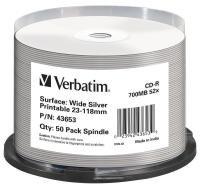 Verbatim Cd-r Wide Silver Inkjet Printable 700mb 52x.